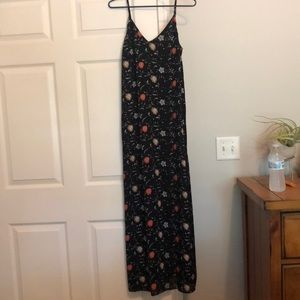Black Maxi Dress with Floral Detail